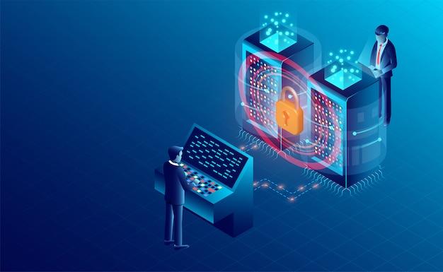 Bandeira de proteção de processamento de dados Vetor Premium