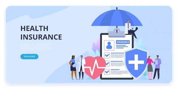 Bandeira de proteção de seguro de saúde Vetor Premium