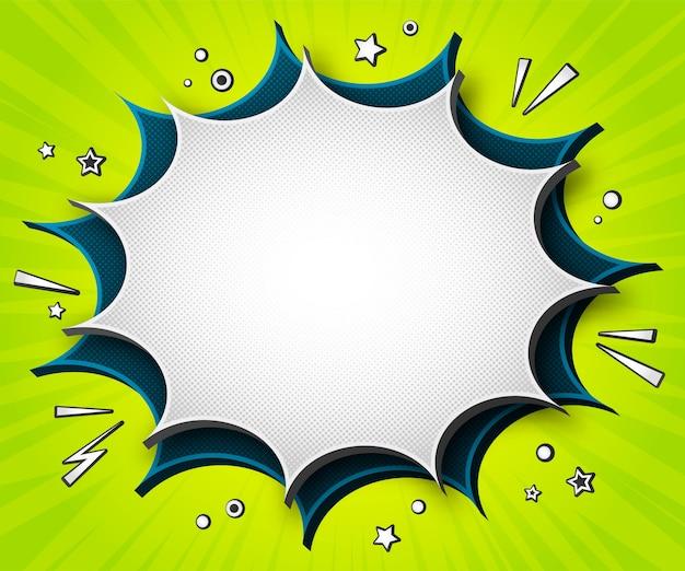 Bandeira de quadrinhos coloridos. bolhas do discurso dos desenhos animados sobre fundo verde Vetor Premium