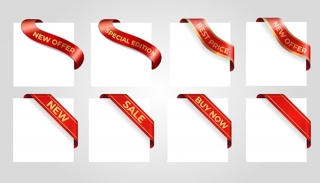 Bandeira de red venda decorativa isolada no fundo. Vetor Premium
