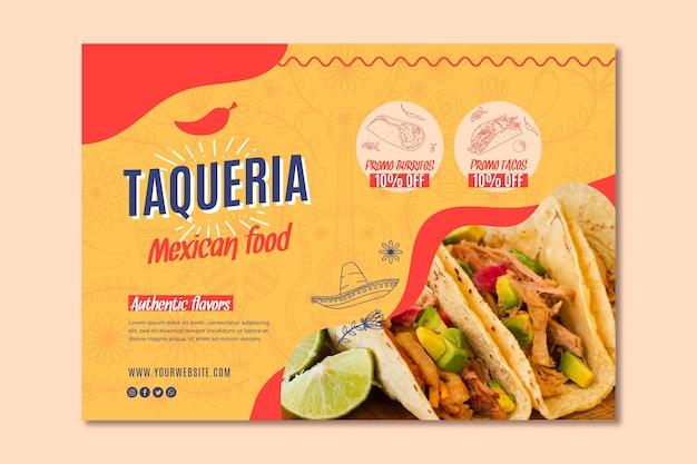 Bandeira de restaurante mexicano Vetor Premium