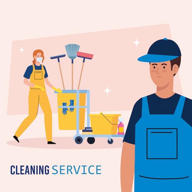 Bandeira de serviço de limpeza, casal de trabalhadores com carrinho de limpeza com design de ilustração de ícones de equipamento Vetor Premium