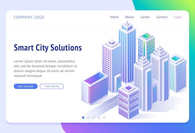 Bandeira de soluções de cidade inteligente. cidade futurista isométrica com arranha-céus, Vetor grátis