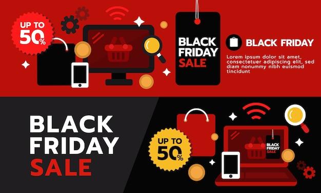 Bandeira de super venda de sexta-feira negra. Vetor Premium