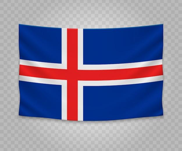 Bandeira de suspensão realista da islândia Vetor Premium