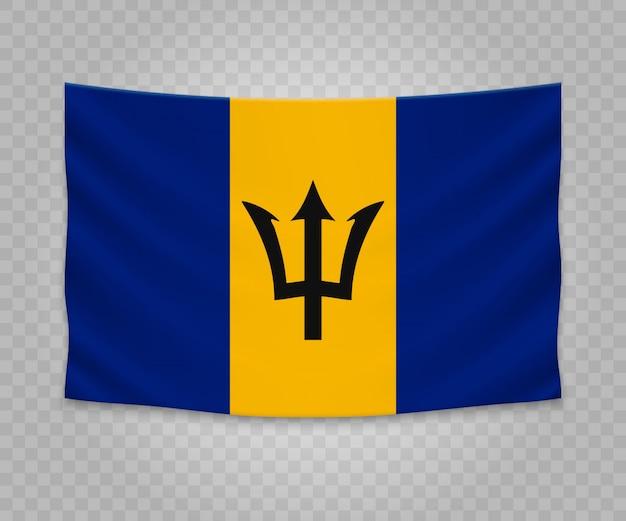 Bandeira de suspensão realista de barbados Vetor Premium