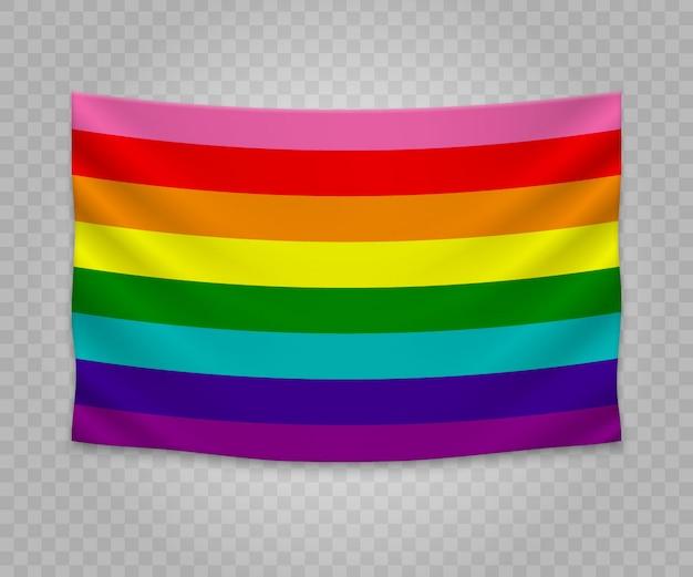 Bandeira de suspensão realista de gay Vetor Premium