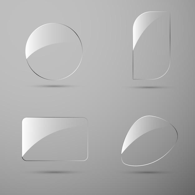 Bandeira de textura de vidro para web. Vetor Premium