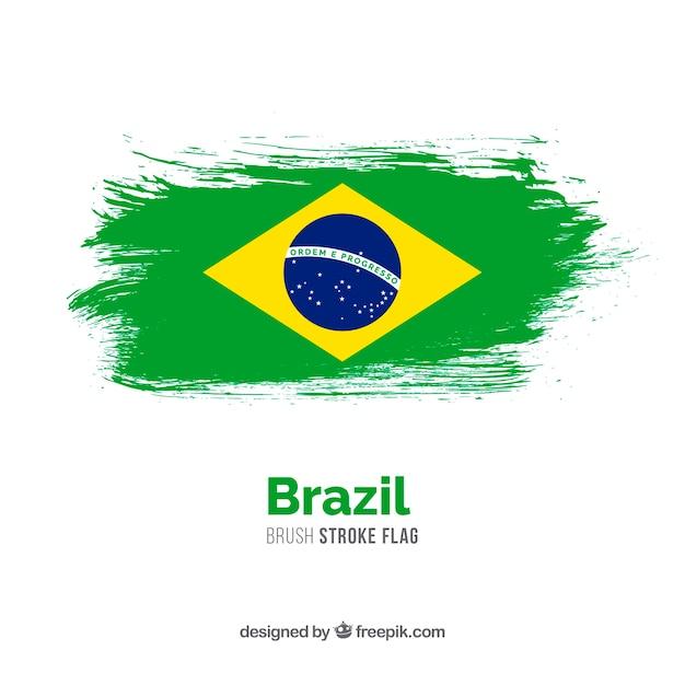 Bandeira de traçado de pincel do brasil Vetor Premium