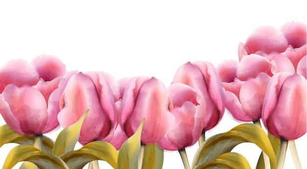 Bandeira de tulipas em aquarela Vetor Premium