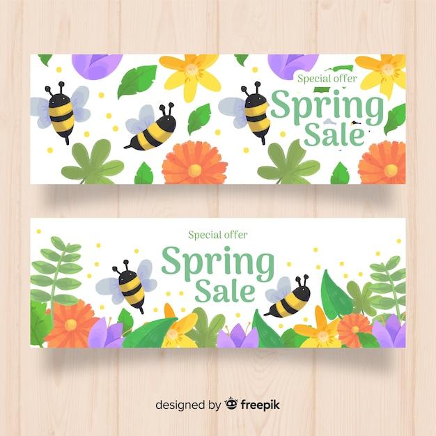 Bandeira de venda de mão desenhada primavera Vetor grátis
