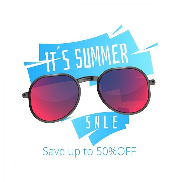 Bandeira de venda de verão de óculos de sol Vetor Premium