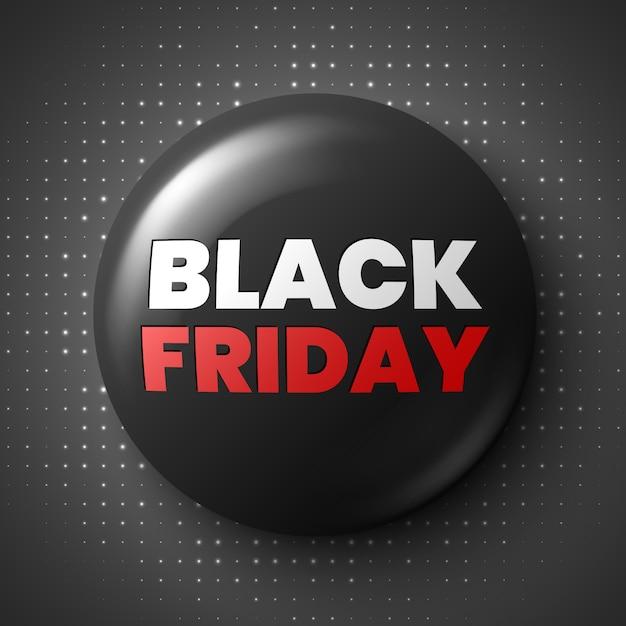 Bandeira de venda sexta-feira negra. botão redondo brilhante. distintivo. Vetor Premium