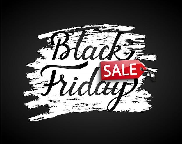 Bandeira de venda sexta-feira negra em fundo preto Vetor Premium