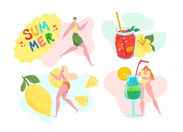Bandeira de verão tropical, ilustração. mulher na festa de praia, as pessoas bebem água de frutas no conceito de férias. caráter de pessoa com copo de suco frio, fundo de evento de bebida. Vetor Premium