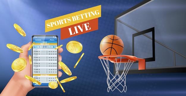 Bandeira de vetor de aplicativo de resultados ao vivo de apostas esportivas Vetor grátis