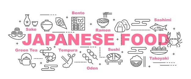 Bandeira de vetor de comida japonesa Vetor Premium