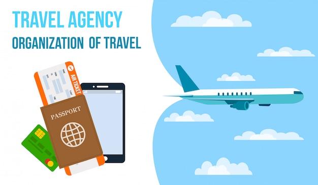 Bandeira de vetor horizontal de agência de viagens. Vetor Premium