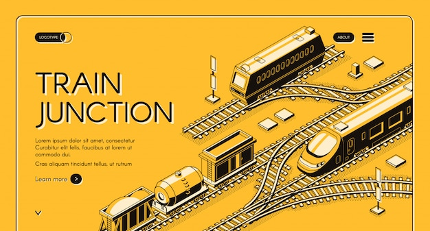 Bandeira de web de empresa de transporte ferroviário ou modelo de página de aterrissagem com diesel de frete Vetor grátis
