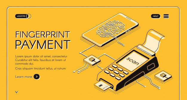 Bandeira de web de serviço de pagamento por impressão digital com chip digital, impressão digital e cartão de crédito Vetor grátis