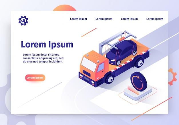 Bandeira de web de vetor de serviço on-line de carro de reboque de carro Vetor Premium