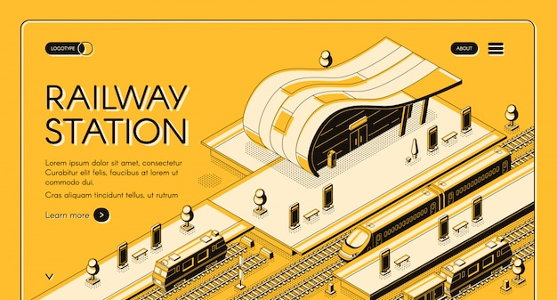 Bandeira de web isométrica de empresa de transporte ferroviário Vetor grátis