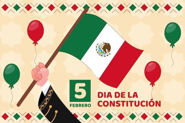 Bandeira desenhada à mão, dia da constituição do méxico Vetor grátis