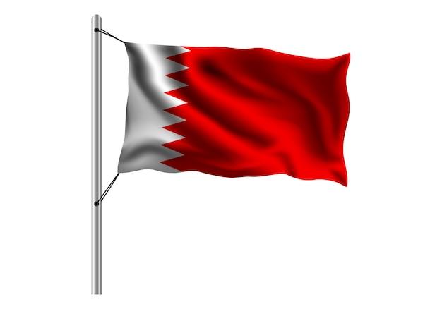 Bandeira do bahrein no mastro da bandeira em branco Vetor Premium