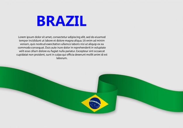 Bandeira do brasil bandeira Vetor Premium
