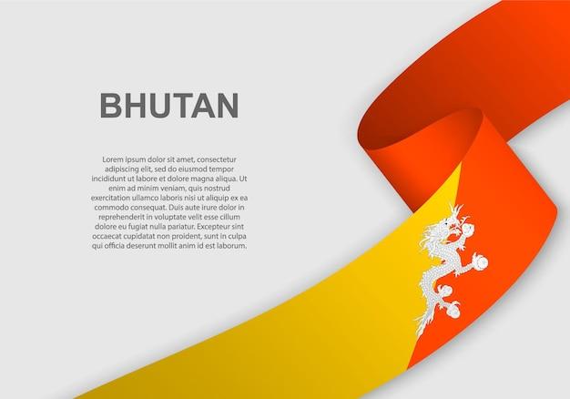 Bandeira do butão. Vetor Premium
