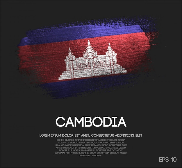 Bandeira do camboja feita de glitter sparkle escova paint vector Vetor Premium
