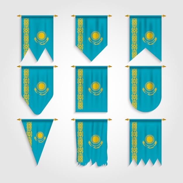 Bandeira do cazaquistão com formas diferentes, bandeira do cazaquistão em várias formas Vetor Premium