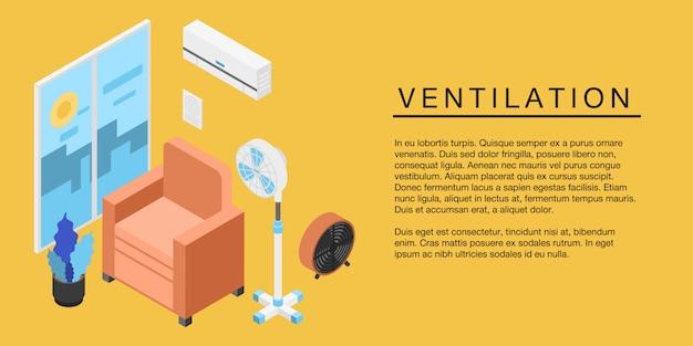 Bandeira do conceito de ventilação em casa, estilo isométrico Vetor Premium