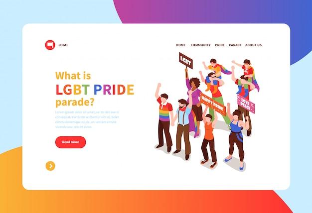 Bandeira do conceito isométrico com pessoas que participam na parada do orgulho homossexual 3d Vetor grátis