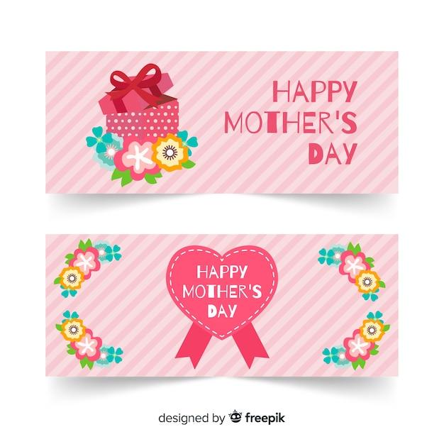 Bandeira do dia das mães de presente Vetor grátis