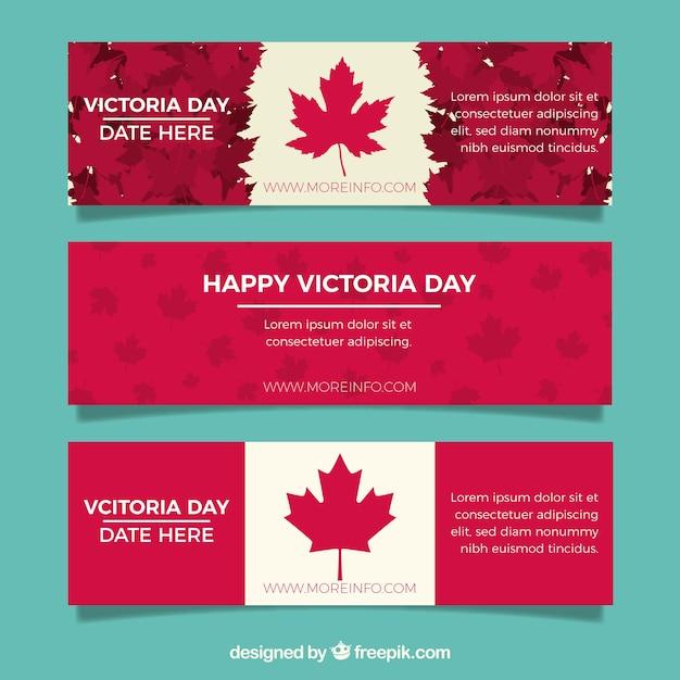 Bandeira do dia de Victoria com projeto da bandeira canadense Vetor grátis