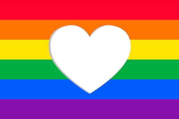 Bandeira do dia do orgulho com moldura de coração Vetor grátis