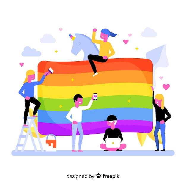 Bandeira do dia do orgulho Vetor grátis
