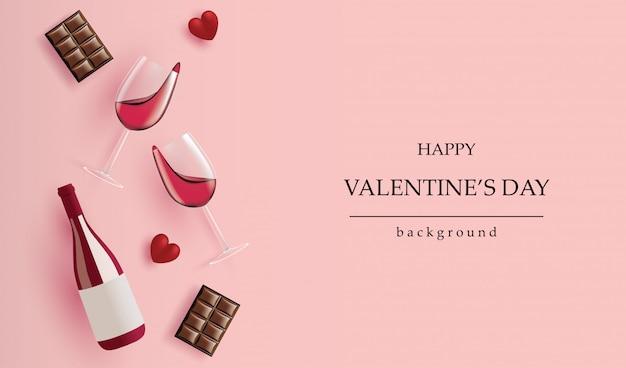 Bandeira do dia dos namorados de férias. garrafa de vinho realista, copo de vinho, coração de chocolate e vermelho em rosa para cartões, cabeçalhos e site. Vetor Premium