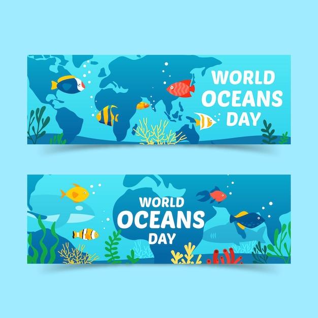 Bandeira do dia mundial dos oceanos Vetor grátis