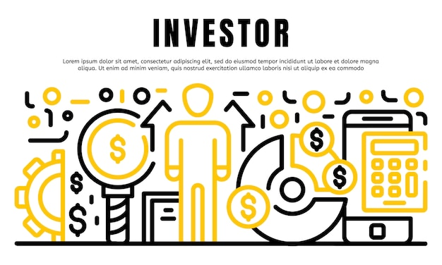 Bandeira do investidor, estilo de estrutura de tópicos Vetor Premium