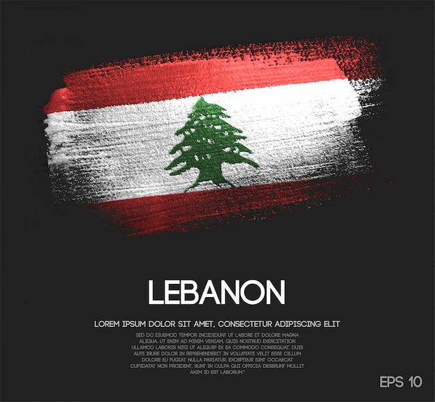 Bandeira do líbano feita de glitter sparkle brush paint Vetor Premium