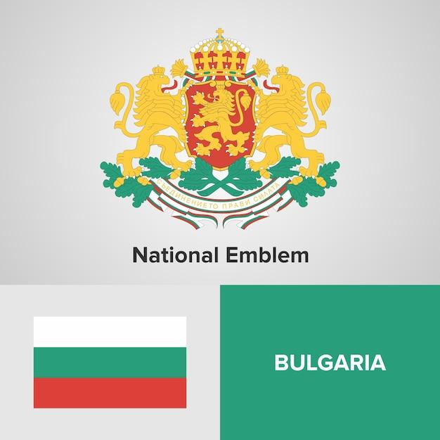 Bandeira do mapa de bulgária e emblema nacional Vetor Premium