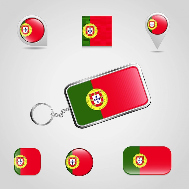 Bandeira do país de portugal Vetor Premium