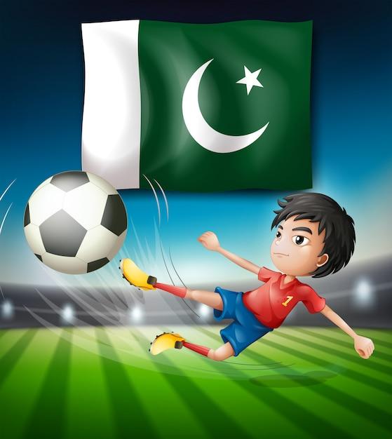 Bandeira do paquistão e jogador de futebol Vetor grátis