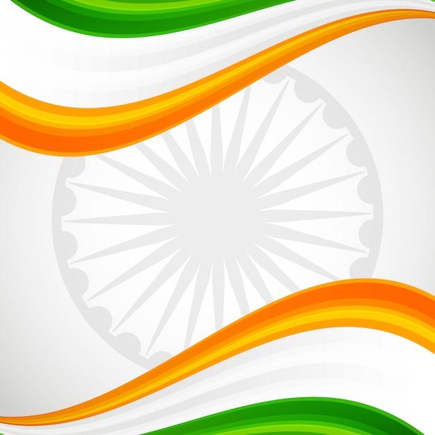 Bandeira do patriota de india e cartão do emblema da roda Vetor Premium