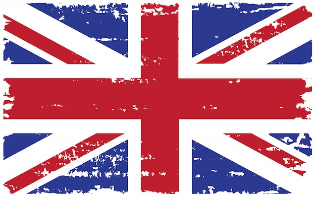 Bandeira do reino unido velho grunge Vetor Premium