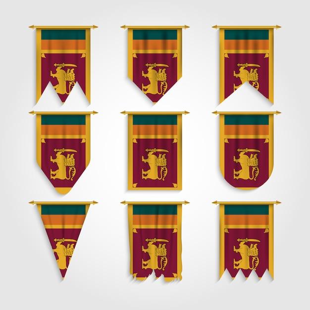 Bandeira do sri lanka em formas diferentes, bandeira do sri lanka em várias formas Vetor Premium