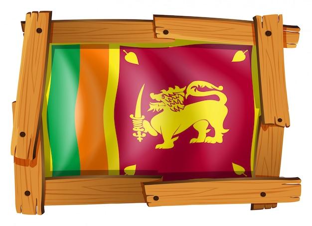 Bandeira do sri lanka em moldura de madeira Vetor grátis