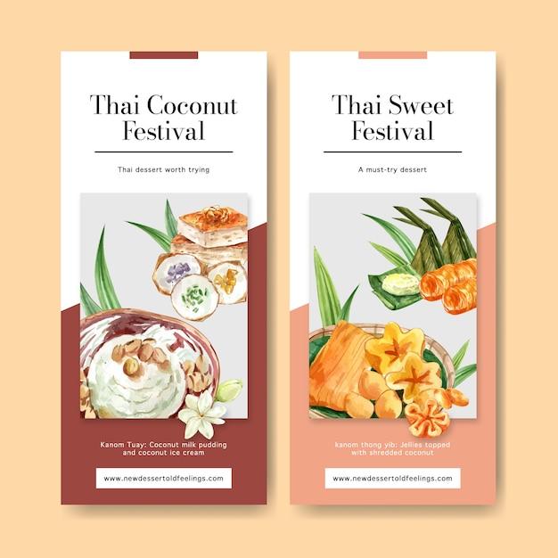 Bandeira doce tailandesa com creme tailandês, ilustração de aquarela pudim. Vetor grátis